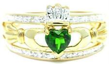 Natural Claddagh Diopside & 20 Diamond 9K 9ct Solid Gold Celtic Ring Authentic