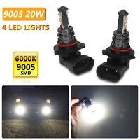 2x 10000LM HB3 LED Fog Headlight Bulbs 6000K White 12-24V IP67 4x 9005 SMD Lamps