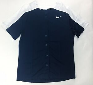 Nike Full Button Softball Henley Jersey Shirt Women's M Navy Blue White AV6719