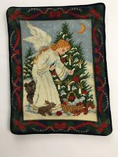 Hand Made Needle Point Christmas Angel Pillow Cover Completed   15 in x 12 in