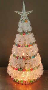 """Vintage Lighted Safety Pin Christmas Tree 12"""" Clear Lights Beads Handmade Retro"""