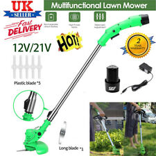More details for electric cordless garden grass trimmer weed strimmer cutter+battery+blades new
