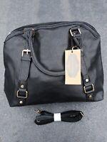 Fashion Ladies Black leather Shoulder bag Large