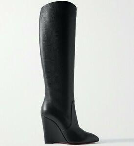 Christian Louboutin Civiliza 100 Black Calf Leather Knee High Wedge Heel Boot 41