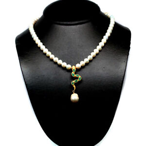 """NATURAL GREEN EMERALD RUBY & PEARL SNAKE NECKLACE 18"""" 925 SILVER STERLING"""