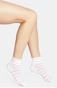 Hue Women Pink Striped Cotton Body Socks 2-Pair White One Size 4313