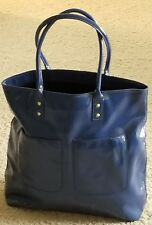 NWT J crew Leather Blue Tote Large Bag