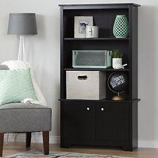South Shore Vito 3-Shelf Bookcase with Doors, Pure Black New