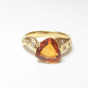 Estate 18K Yellow Gold 2.30 Ct Natural Orange Madeira Citrine And Diamond Ring