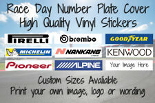 Race Day Number Plate Cover Sticker Motorsport Racing Car Logo Custom Sizes