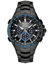 New Seiko SSG021 Coutura Radio Sync Solar Chronograph Black PVD Mens Watch