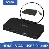 Type C To VGA 3.5mm Audio HDMI TV USB 3.0 Adapter For Macbook Chromebook Pixel