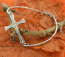 Side Cross Adjustable Bangle-Sterling Silver-Holy Cross,Religious,Side Way Cross