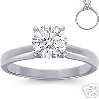 0.75CT SOLITAIRE DIAMOND 4 TULIP CLAW PLATINUM ENGAGEMENT RING + BOX 3/4ct 950