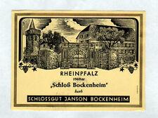 "ETIQUETTE ANCIENNE de VIN ""RHEINPFALZ / SCHLOSSBOCKENHEIM"" ALLEMAGNE en 1969"
