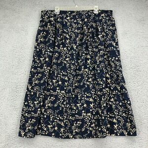 Sag Harbor Skirt 2X Womens Plus Size Blue Beige Floral Maxi Pull On Pleated