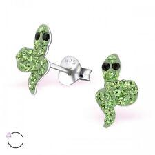 Plata esterlina 925 Verde Brillante Serpiente De Cristal Pendientes con Pasador