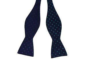 Countess Mara blue polka dot bow tie silk new