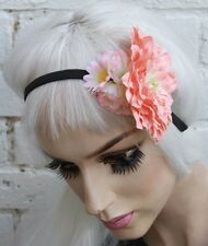 PEACH DAISY ROSE FLOWER CROWN HIPPY PASTEL FESTIVAL GRUNGE HEAD BAND