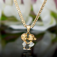 Sevil 18K Gold Plated Flat Mariner Necklace With 2-Tone Boy & Girl Love Pendant