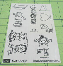 Stampin Up Kids At Play Set of 9 Unmounted Wooden Rubber Stamps Children