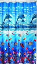 DOLPHIN COVE VINYL SHOWER CURTAIN 72X72 SEA CLOWN FISH OCEAN DEEP SEA CORAL