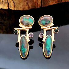 Women Faux Opal Teardrop Dangle Ear Stud Earrings Piercing Party Jewelry Charm