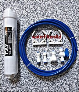External Fridge Water Filter with Plumbing Fittings Connection Kit