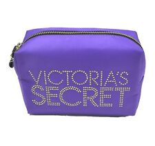 Victoria's Secret Large Bling Cosmetic Make-up Bag Purple Leopard Lining