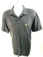 Brooks Brothers Men's Short Sleeve Gray Performance Polo Style Cotton Shirt Sz L
