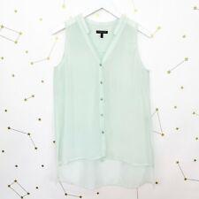 Eileen Fisher Tunic Top Size PS Mint Green Silk Button Down Sleeveless Blouse