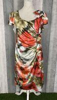 Michaela Louisa Floral Blur Ruffle Bow Sleeve Midi Shift Dress Size 14