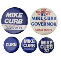 Vtg Mike Curb Governor Candidate 1982 Political Campaign Pinback Button
