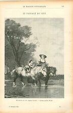 Passage du Gué à Cheval d'Augustus Wall Callcott Peintre GRAVURE  OLD PRINT 1903