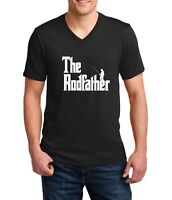 Mens V-neck The Rodfather Shirt Funny Fishing T-Shirt Gift Dad Daddy Fathers Day