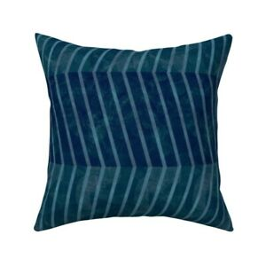 Herringbone Nightwatch Teal Throw Pillow Cover w Optional Insert by Spoonflower