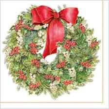 Christmas 20 Paper Lunch Napkins NOSTALGIC WREATH Red Green Winter Snow Ilex / D