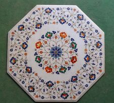 """24"""" Marble Coffee Table Top Semi Precious Stone Floral Inlay Home Decor"""