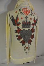 SINFUL Sz.MEDIUM Women Hoodie Sweat Shirt Full Zip Jacket Bird Crown Red Jewels