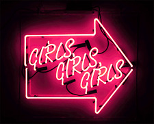 "Girls Girls Girls Arrow Neon Sign Light Home Room Wall Poster Art Visual12""x10"""