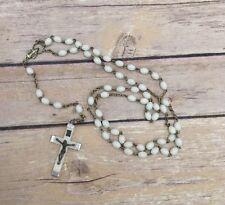 Vintage INRI Rosary White Plastic Beads Silver Tone Crucifix