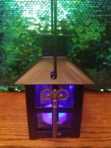Black Metal Candle Lantern With Key. Multi color LED tealight inc. Gems optional