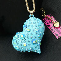 Betsey Johnson Enamel Crystal Love Heart Pendant Long Chain Women's Necklace