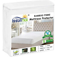 Bamboo Mattress Protector Waterproof Breathable Noiseless Deep Matress Cover New