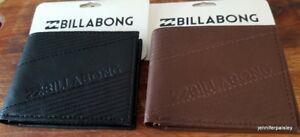 BILLABONG WALLET BNWT Mens Boys slice BLACK CHOCOLATE PVC LOGO Bifold Surf Logo
