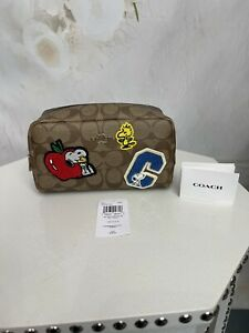 Coach X Peanuts Small Boxy Cosmetic Case Signature Canvas Varsity Patches NWTS