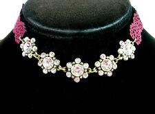 "RHINESTONE CHOKER NECKLACE Flower Groups Cranberry Burgundy Floral Goldtone 16"""