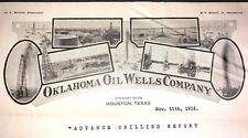 Rare 1916 Oklahoma Oil Well Co Letterhead Houston Texas Drilling Mining Int