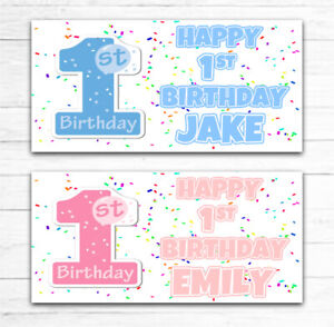 2 PERSONALISED 1ST FIRST BIRTHDAY BANNERS ANY NAME ANY AGE BOY GIRL BLUE PINK