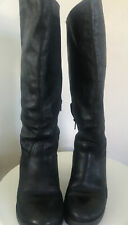 Womens Dune Black Knee High Leather Western Style Boots Size UK 5 (38)